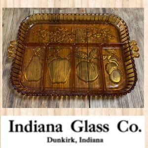 VTG 70's Indiana Glass Gold Carnival Relish Tray
